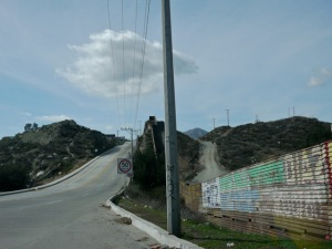 Tecate, Baja Californiaand a border wall with the U.S.