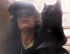 On  rainy day, I paused by a ladder, after a walk in the rain & the cat hopped on my shoulder....